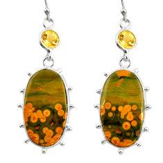 19.29cts natural yellow ocean sea jasper (madagascar) 925 silver earrings r28861