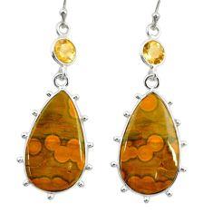 18.73cts natural yellow ocean sea jasper (madagascar) 925 silver earrings r28863