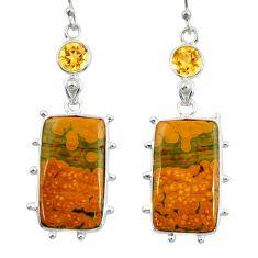 20.33cts natural yellow ocean sea jasper (madagascar) 925 silver earrings r28865