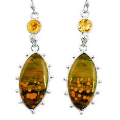 18.12cts natural yellow ocean sea jasper (madagascar) 925 silver earrings r28867