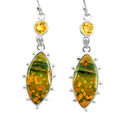 16.32cts natural yellow ocean sea jasper (madagascar) 925 silver earrings r28871
