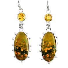 18.12cts natural yellow ocean sea jasper (madagascar) 925 silver earrings r28872