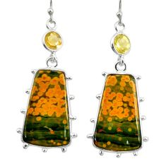 17.61cts natural yellow ocean sea jasper (madagascar) 925 silver earrings r28873