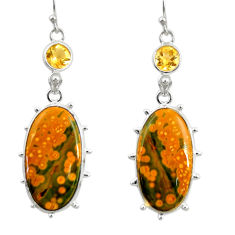 19.29cts natural yellow ocean sea jasper (madagascar) 925 silver earrings r28875