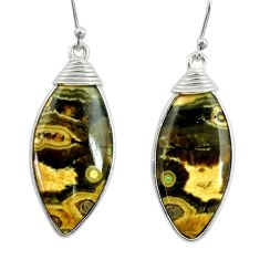 14.73cts natural yellow ocean sea jasper (madagascar) 925 silver earrings r28877