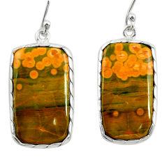 19.29cts natural yellow ocean sea jasper (madagascar) 925 silver earrings r28878