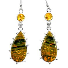 18.79cts natural yellow ocean sea jasper (madagascar) 925 silver earrings r30374