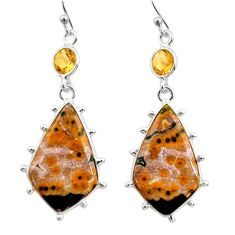19.98cts natural yellow ocean sea jasper (madagascar) 925 silver earrings r30376