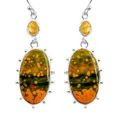 20.39cts natural yellow ocean sea jasper (madagascar) 925 silver earrings r30380