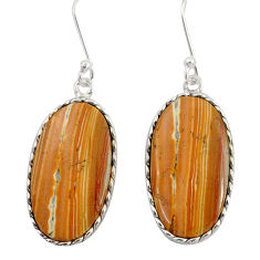 Clearance Sale- 16.44cts natural yellow snakeskin jasper 925 silver dangle earrings d39562
