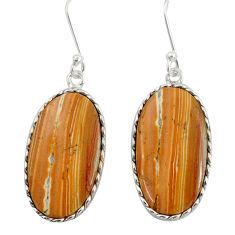 16.44cts natural yellow snakeskin jasper 925 silver dangle earrings d39562