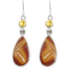 Clearance Sale- 13.02cts natural yellow snakeskin jasper 925 silver dangle earrings d39563