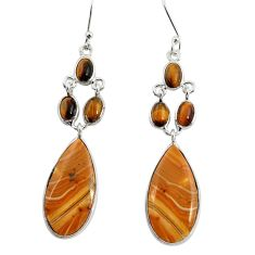 Clearance Sale- 16.88cts natural yellow snakeskin jasper 925 silver dangle earrings d39566
