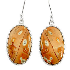 Clearance Sale- 14.08cts natural yellow snakeskin jasper 925 silver dangle earrings d39567