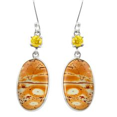 Clearance Sale- 16.44cts natural yellow snakeskin jasper 925 silver dangle earrings d39569