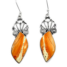 Clearance Sale- 18.68cts natural yellow snakeskin jasper 925 silver dangle earrings d39591