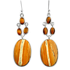 Clearance Sale- 20.92cts natural yellow snakeskin jasper 925 silver dangle earrings d39592