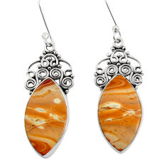 Clearance Sale- 16.20cts natural yellow snakeskin jasper 925 silver dangle earrings d39597
