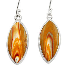 Clearance Sale- 15.05cts natural yellow snakeskin jasper 925 silver dangle earrings d39945