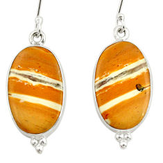Clearance Sale- 14.23cts natural yellow snakeskin jasper 925 silver dangle earrings d39961