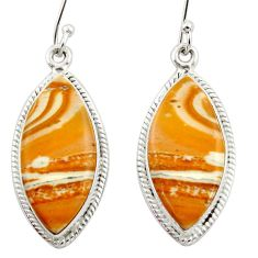 Clearance Sale- 17.18cts natural yellow snakeskin jasper 925 silver dangle earrings d39963
