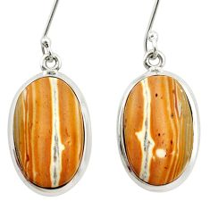 Clearance Sale- 16.70cts natural yellow snakeskin jasper 925 silver dangle earrings d39965