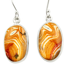 Clearance Sale- 15.60cts natural yellow snakeskin jasper 925 silver dangle earrings d39966