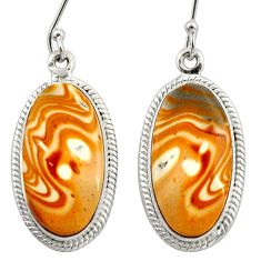 Clearance Sale- 19.07cts natural yellow snakeskin jasper 925 silver dangle earrings d39967