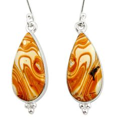 Clearance Sale- 14.20cts natural yellow snakeskin jasper 925 silver dangle earrings d39969