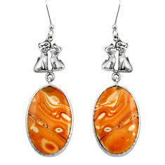 Clearance Sale- 18.88cts natural yellow snakeskin jasper 925 silver two cats earrings d39594
