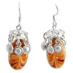 Clearance Sale- 31.96cts natural yellow snakeskin jasper pearl 925 silver dangle earrings d39670