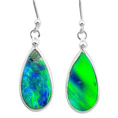 4.94cts northern lights aurora opal (lab) sterling silver dangle earrings t23493