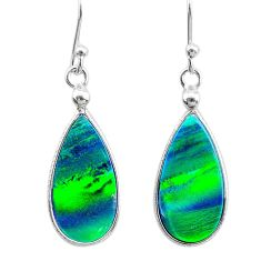 4.56cts northern lights aurora opal 925 sterling silver (lab) earrings t23483