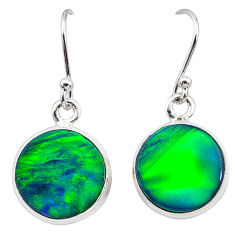 6.25cts northern lights aurora opal (lab) 925 silver dangle earrings t28465