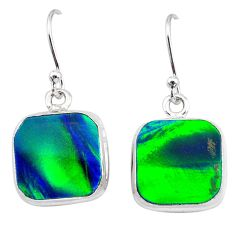 6.95cts northern lights aurora opal (lab) 925 silver dangle earrings t28466