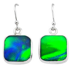 6.26cts northern lights aurora opal (lab) 925 silver dangle earrings t28468