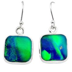6.89cts northern lights aurora opal (lab) 925 silver dangle earrings t28475