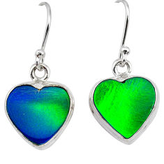 5.69cts northern lights aurora opal (lab) 925 silver dangle earrings t28478