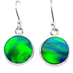 5.89cts northern lights aurora opal (lab) 925 silver dangle earrings t28479