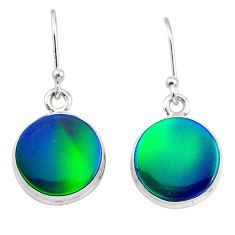 5.87cts northern lights aurora opal (lab) 925 silver dangle earrings t28481