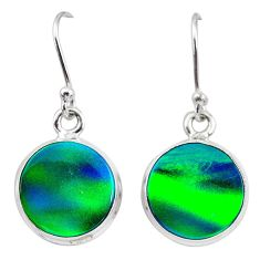 5.87cts northern lights aurora opal (lab) 925 silver dangle earrings t28485