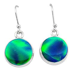 5.45cts northern lights aurora opal (lab) 925 silver dangle earrings t28493