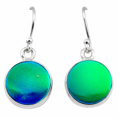 5.62cts northern lights aurora opal (lab) 925 silver dangle earrings t28495
