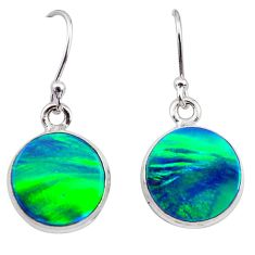 5.60cts northern lights aurora opal (lab) 925 silver dangle earrings t28496