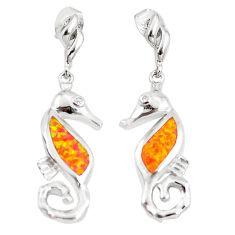 0.22cts orange australian opal (lab) topaz 925 silver dangle earrings c26058