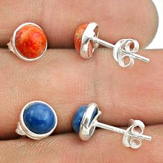 4.28cts owyhee opal copper turquoise 925 silver 2 pair studs earrings t50852