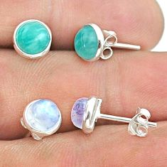 4.65cts peruvian amazonite moonstone 925 silver 2 pair studs earrings t50865