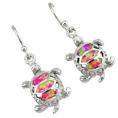 Pink australian opal (lab) 925 silver tortoise earrings jewelry c15576