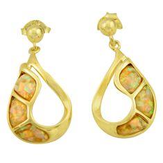 5.13cts pink australian opal (lab) 925 sterling silver 14k gold earrings c26370