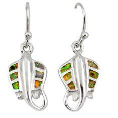 Pink australian opal (lab) enamel 925 silver dangle fish earrings c15541
